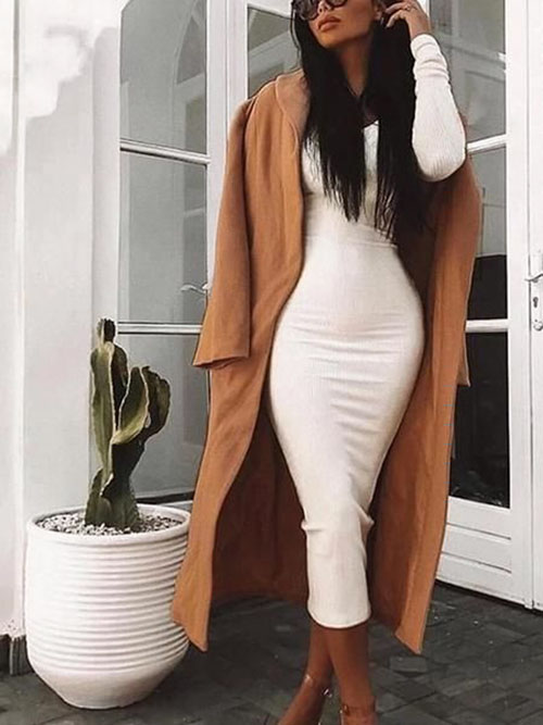 Winter Bodycon Dress Outfits
